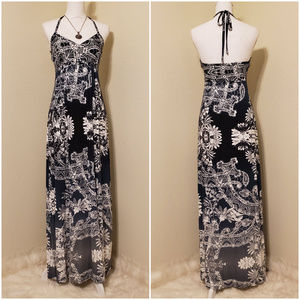 Express Halter Maxi Ombre Black to Gray Dress NWT
